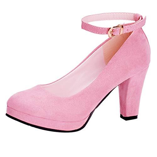 LuckyGirls Zapatos Tacón Mujer Ante Slip On Moda
