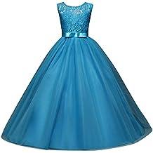 Niña Flores Vestido de niña niños tul Princesa Vestido Navidad Sin Mangas Con boda vestido flores tul arco vestido lonshell, niña, Lonshell_weihnachten Blumenmädchenkleid, azul