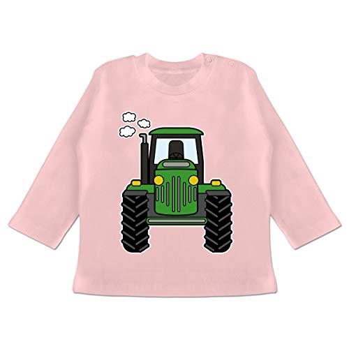 Runde Front 14 (Fahrzeuge Baby - Traktor Front - 12-18 Monate - Babyrosa - BZ11 - Baby T-Shirt Langarm)