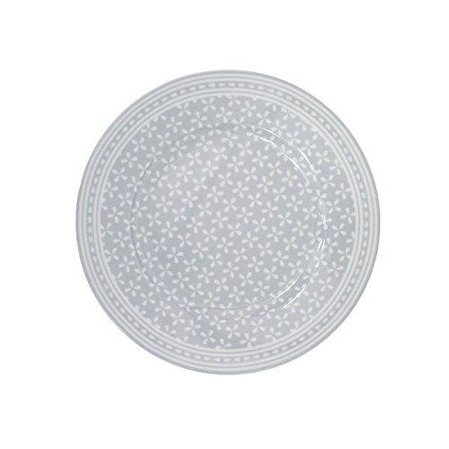 Krasilnikoff - Teller/Frühstücksteller / Kuchenteller - Daisy - Porzellan - grau - weiß geblümt - Ø 20 cm Daisy-teller