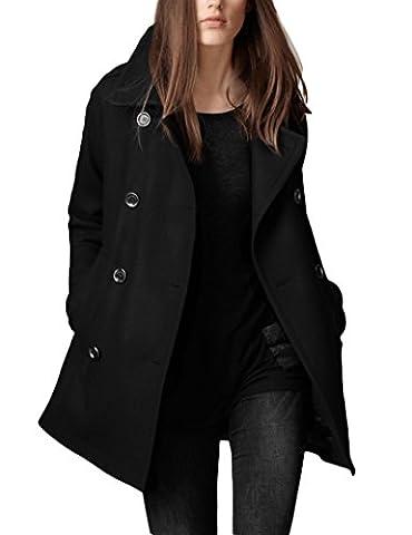 Élégantes trench-coats Simple des femmes avec poches Black XL