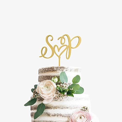 Andrea1Oliver Initialen Cake Topper Monogramm Cake Topper Benutzerdefinierte Hochzeitstorte Topper 2 Initial Cake Topper Brief Cake Topper Holz Cake Topper (Brief E-hochzeitstorte Topper)