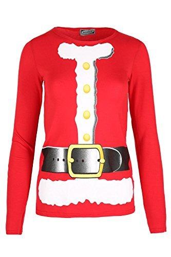 Womens Rund Ausschnitt Langärmelig Weihnachten Weihnachtsmann Schnee Aufdruck T-shirt Vintage Comedy Retro Witz Weihnachten Schlitten Schlitten Top - Rot, 36/38