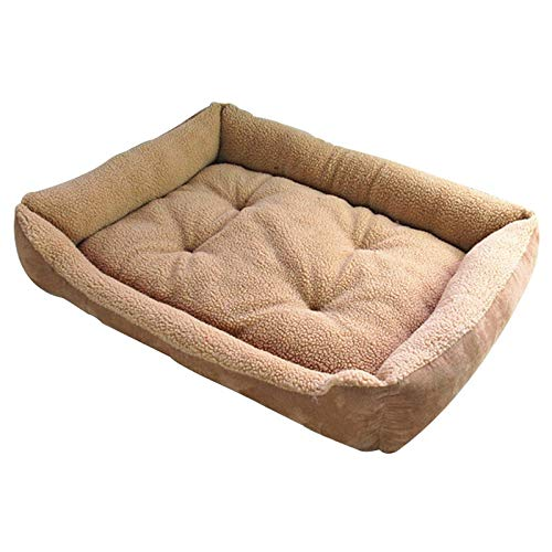 Roofeel Extra Large Hundebett Soft Berber Fleece Puppy Kissen Winter Warm Pet Dog House Waschbar (Hellbraun,L) -