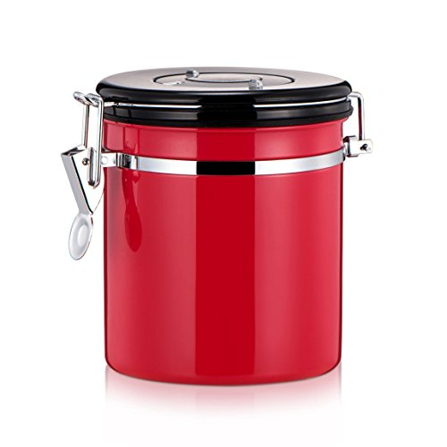 mylifeunit Kaffee Kanister, Edelstahl Coffee Bean Behälter Vorratsdose, 4Farben rot
