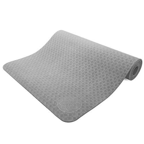 Yamkas Yogamatte TPE   rutschfest - Schadstofffrei   Yoga Matte für Fitness   Reise   Sport   Zuhause   183 x 61 x 6mm   Grau