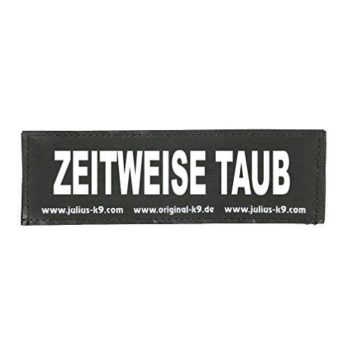 Julius-K9 162LR-K-31192  Klettaufschrift, ZEITWEISE TAUB, klein, schwarz