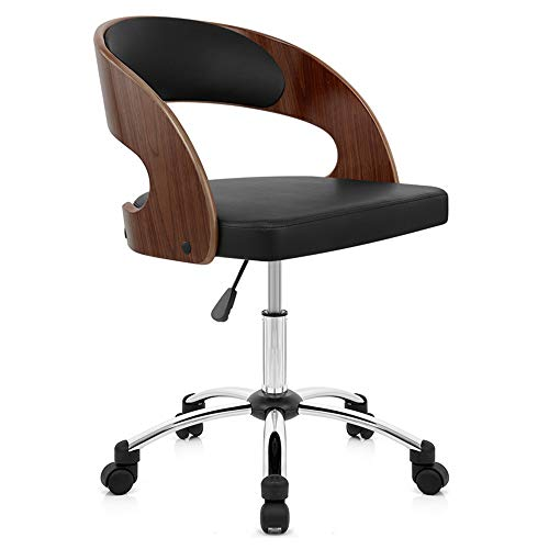 QIN Premium Home Bürostuhl Moderner Designer Executive Bürostuhl mit Dicker Polsterung für optimalen Komfort, höhenverstellbares Easy Clean Walnuss Furnier/PU Leder Executive Swivel Computer Stuhl