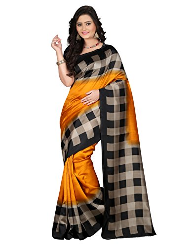 e-VASTRAM Women\'s Mysore Art Silk Saree (NS6A_Yellow)