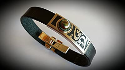 Totem Bracelet finition brossée en cuir avec perle de Tahiti