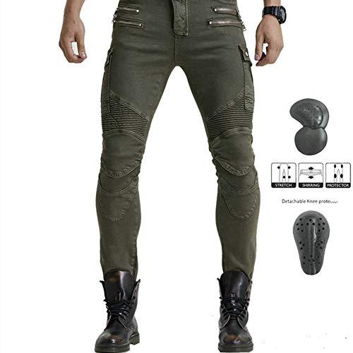 I Più Recenti Pantaloni Da Moto Da Uomo In Jeans, Pantaloni Da Corsa Per Fuoristrada Da Moto, Con Versione Aggiornata Di Tappetino Protettivo Rimovibile, Pantaloni Da Moto Anti-caduta (Verde,XXL)