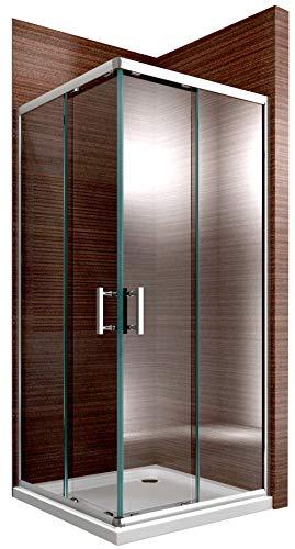 Bernstein Badshop Duschkabine Eckeinstieg Schiebetüren 6mm NANO ESG-Glas Eckdusche EX506 - Duschwand 90x90x195cm -