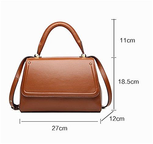 Xinmaoyuan Damen Handtaschen Handtasche aus echtem Leder Messenger Bag Geldbörse Damen Schultertasche einfache kleine Quadratische Tasche, Braun Braun