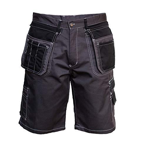 Solido Pantaloncini da Lavoro da Uomo, Elementi Riflettenti, Pantaloni da Lavoro, Pantaloni Professionali, durevoli, Pantaloni da Giardino, Pantaloncini da Giardino (52, Grigio-Nero)