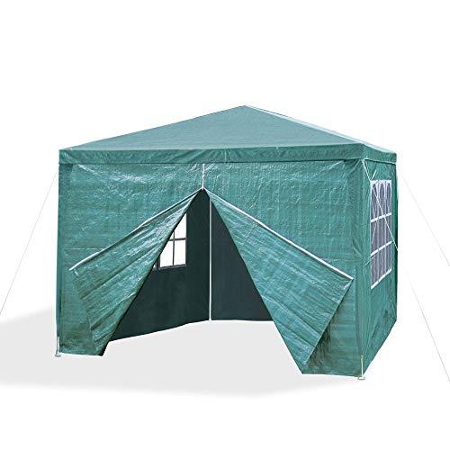 JOM 127137 Gazebo da giardino, 3 x 3 m, con 4 pareti laterali, 3 finestre e 1 porta con chiusura lampo, materiale PE 110G, barre di metallo, giunzioni plastiche, impermeabile, con picchetti e corde di tensione, verde