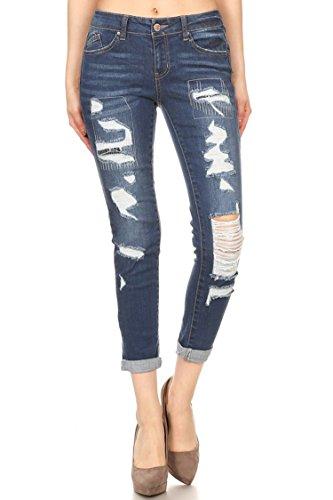 Wax Jean Damen Skinny Jeans Destroyed Slim Fit mit Bündchen, dunkel Denim 7 Denim Destroyed Low Rise Jeans