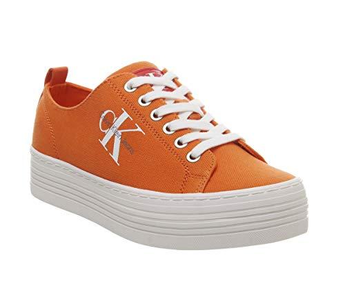 Calvin Klein Jeans Calvin Klein R06730AD R0673 Zolah Damen Sneaker Textilmaterial 40-mm-Plateau, Groesse 37, orange