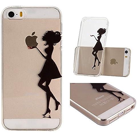 iPhone 5C Cover , YIGA Nero Sexy Donna Trasparente Silicone Cristallo Morbido TPU Case Custodia per Apple iPhone 5C