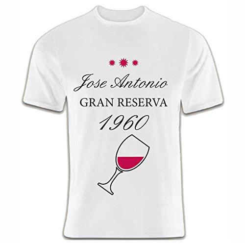Regalo para un amigo o amiga, hermano o hermana, pareja... por su cumpleaños o Navidad: camiseta 'gran reserva' blanca personalizada con su nombre y año de nacimiento