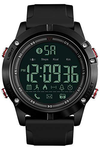 Uomo Bluetooth Smart orologio militare impermeabile multifunzione da polso sportivo digitale pedometro calorie cronometro allarme