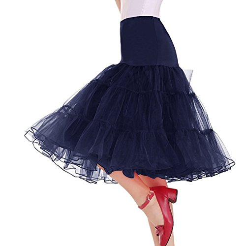 Minetom 50er Jahre Petticoat Vintage Reifrock Unterrock Petticoat Underskirt Crinoline für Wedding Bridal Rockabilly Kleid Navy Blau