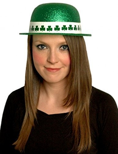St Patricks Day Irish Green Glitter, PVC, Hut, Kostüm Party Kostüm Accessoire (Damen Red Wings Mütze)