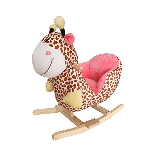 """solini \""""Giraffe Schaukeltier / Schaukelpferd / Kinderspielzeug - Soundfunktion, Musik, Farbe: Dunkelbraun, Rückenlehne, ab 18 Monaten - Holz Spielzeug für Baby/Kinder/Junge/Mädchen"""