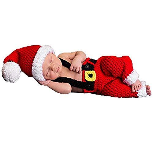 xwanli Baby Neugeborenen Fotografie Requisiten Handgemachte Häkeln Strickmütze Overalls Latzhose Weihnachten Weihnachtsmann Rot Outfit - Santa Kostüm Für Jungen