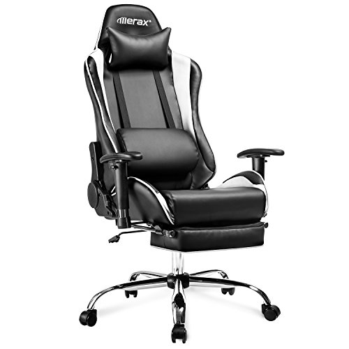 GAZE SECURITY Gaming Stuhl Racing Stuhl mit Fußstütze Schreibtischstuhl aus Kunstleder Gamer Stuhl Drehstuhl höhenverstellbare Computerstuhl Chefsessel PC Stuhl Tragfähigkeit 150kg (weiß)