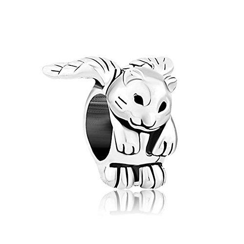 Sug Jasmin, Charm-Perle mit geflügelter Katze, für europäische Bettelarmbänder
