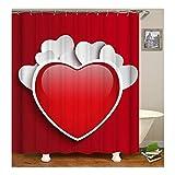 AnazoZ Duschvorhang Anti-Schimmel, Wasserdicht Vorhänge an Badewanne Antibakteriell, Bad Vorhang für Dusche 3D Rot Herz, 100% PEVA, inkl. 12 Duschvorhangringen 165 x 200 cm