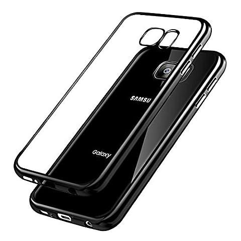 Case for Samsung Galaxy S7 Case Scratch Resistant Plating TPU Case for Samsung Galaxy S7 Case Silicon Crystal Case Transparent for Samsung Galaxy S7 (Samsung Galaxy S7 Edge, Jet Schwarz)