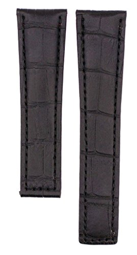 22mm Schwarz genäht schwarz Lederband kompatibel Tag Monaco FC6177(ähnlich)