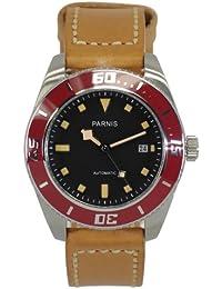 LIV MORRIS PARNIS MIYOTA 3201 0732066353836 - Reloj para hombres, correa de cuero color marrón