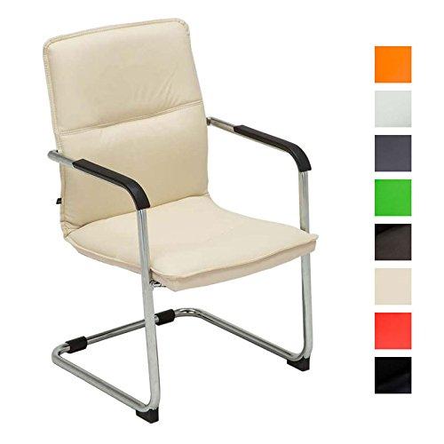 Freischwinger-Stuhl mit Armlehne SEATTLE, Besucherstuhl, Konferenzstuhl gepolstert Creme