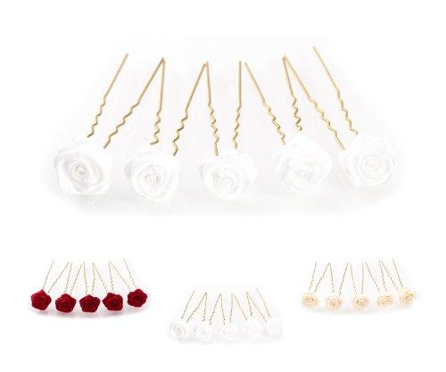 5 épingles à cheveux ornées de roses - accessoire pour coiffure avec du volume/de mariée - Épingle à cheveux dorée - blanc