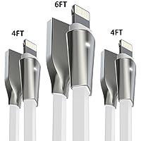 Cable Lightning iPhone[3PCS:1.2M+1.2M+1.8M-Blanco], Aimus Cable Cargador iPhone Lightning a USB Cable Lead de TPE con Indicador LED para iPhone X / 8 / 8 Plus / 7 / 7 Plus / 6S / 6S Plus / 6 / 6 Plus / SE / 5S / 5C / 5, iPad Mini 2 3 4 Air IOS11