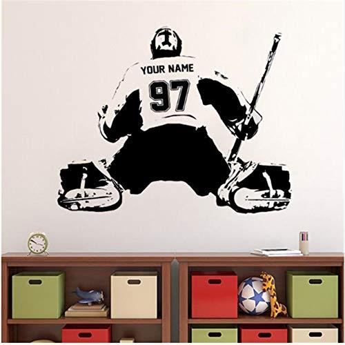 Pegatinas de pared Hockey Portero Calcomanía Personalizada Etiqueta de Arte de la Pared Jugador Jersey Nombre Y Números Niños Pegatinas de Vinilo de Pared Para La Decoración Casera 76X101cm