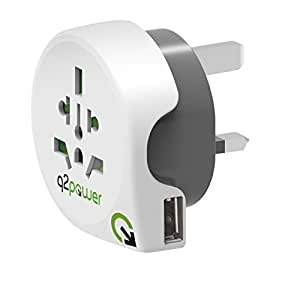 Q2 Power World to UK All-in-One Travel Plug Adapter with USB Port - White/Grey
