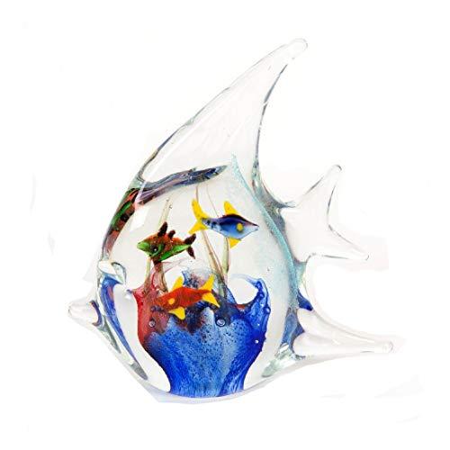 The Emporium Direct Briefbeschwerer, Glas, groß, transparenter und Blauer Engelsfisch