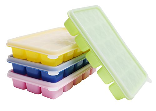 Kurtzy 4 Stück Eiswürfelform Silikon Eiswürfelbehälter,BPA frei Eiswürfel Form - Eiswuerfelbehaelter Mit Deckel , 15 Würfel Eiswürfelschalen für Familie, Babynahrung, Partys und Bars (Grün, Blau, Rosa, Gelb)