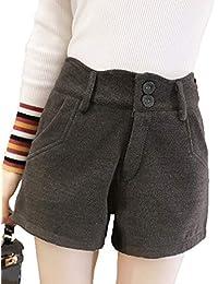 5cd3b8c7575f8 Runyue Damen Casual Herbst Winter Shorts Hohe Taille Künstlich Wolle  Beiläufige Kurz Hose