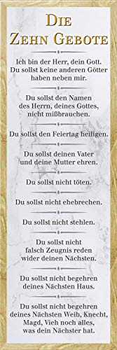 empireposter Die 10 Gebote - Weiß - Religion Inspirations Slim Poster - Größe 30,5x91,5 cm + Wechselrahmen, Shinsuke® Slim MDF Buche, Acryl-Scheibe