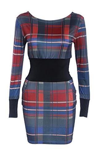 SunIfSnow - Robe spécial grossesse - Moulante - Uni - Manches Longues - Femme - rouge - X-Large