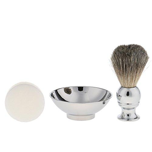 MagiDeal 3 En 1 Outil de Rasage pour Homme Barbier Brosse à Raser Douce / Blaireau de Rasage + Baume Wax à Barbe + Bol à Savon en Acier Inox