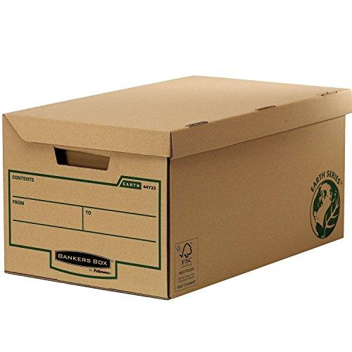 Bankers box 4470809 scatole archivio con coperchio ribaltabile earth series, confezione da 10 pezzi