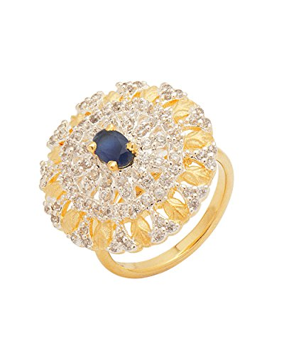 Voylla Blue Stone With CZ Studded Golden Ring
