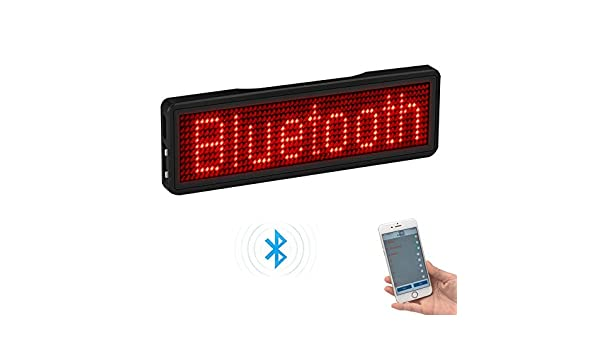 Bluetooth LED Badge Rechargeable Led Name Tag 11*55 wide trademark with magnet