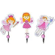 Set de tres ganchos con figuras de hadas para la habitación de las niñas
