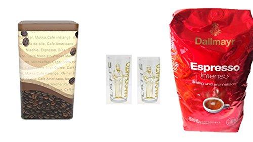 Dallmayr Crema Intensa 1.000g in Bohne NEU Espresso … + Kaffeedose + 2 Latte Gläser stapelbar